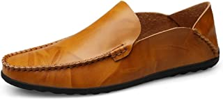 Shangruiqi Driving Loafers for Men Boat Shoes Slip On Synthetic Leather Experienced Stitched Lug Sole Super Flexible Classic Modern Gommino Anti-Skid (Color : Light-Brown, Size : 7.5 UK)