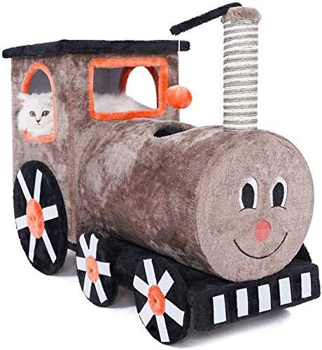 WYJW kat klimmen kat nest kat boom kleine trein vorm grote kat massief hout speelgoed, 92 * 35 * 60cm JSSFQK