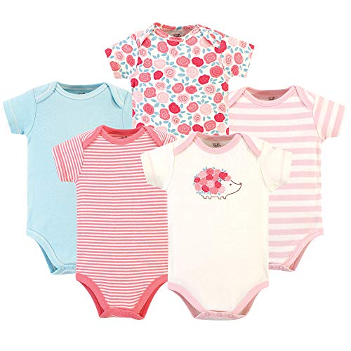 Touched by Nature baby boys Organic Cotton Bodysuits T Shirt Set, Rosebud, 6-9 Months US