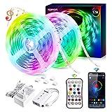 Luces LED 12M, TOPYIYI 5050 RGB Tiras LED Iluminación, Función Musical, Control de APP y de Control Remoto, Adaptador,para Habitacion, Hogar, Bar