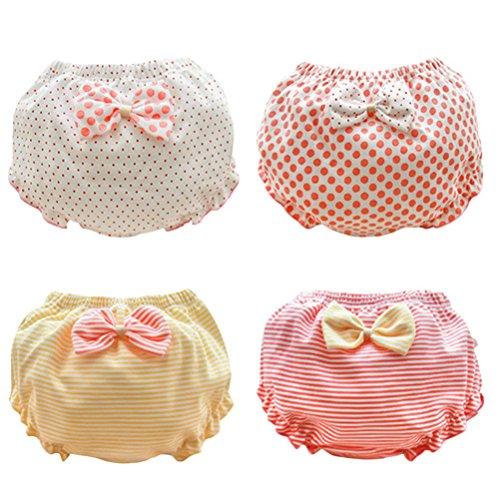 ARAUS ARAUS Mädchen Unterhosen Bowknot Baumwolleunterwäsche Slips BabySchlüpfer 4er Pack für 1-10 Jahre (3-4 Jahre, Mehrfarbig)