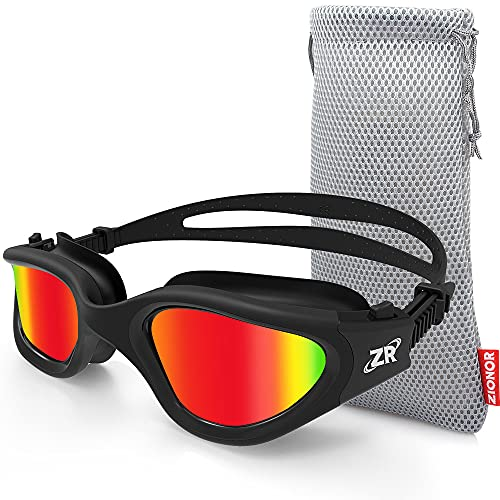 Swimming Goggles, ZIONOR G1 Polarized Swim Goggles UV Protection Watertight Anti-fog Adjustable Strap Comfort fit for Unisex Adult Men and Women (Polarized Red Lens Black Frame)
