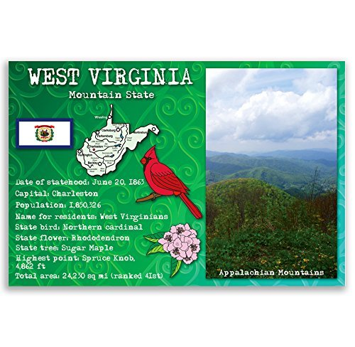 WEST VIRGINIA STATE FACTS postcard set of 20 identical postcards. Post cards with WV facts and state symbols. Made in USA.