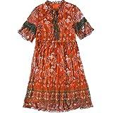 BINGQZ Casual Vestido Vestido de Seda Mujer Primavera Mangas Trompeta Vintage Floral Seda Larga Falda de una línea