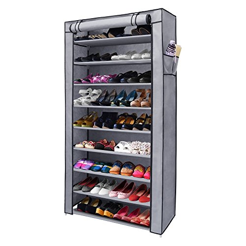 NEX 10-Tier Shoe Rack Portable Shoe Organizer Dustproof 45-Pairs Shoe Cabinet with Watreproof...