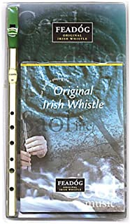 Feadóg Brass Traditional Irish Tin Whistle in the Key of D with Tutor Book