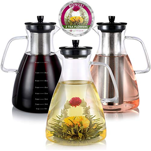 Teabloom Extra-Large Stovetop Safe Glass Teapot/Kettle/Pitcher (68 OZ / 2.0 L / 8 CUPS) – For Hot/Iced Tea, Cold Brew Coffee, Fruit Infused Water – 2 Free Blooming Teas Included
