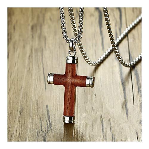 chenran Cruzar Collar Pendiente del Mens Cruz del Palo de Rosa y Acero Inoxidable crucifijo joyería Masculina Espiritual Regalos Cristianos Collar (Length : 24 Inch)