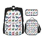 Regreso a la escuela Suministros coloridos alces estudiantes 3 en 1 mochila escolar Set mochila ligera /bolsa de almuerzo/estuche para niñas