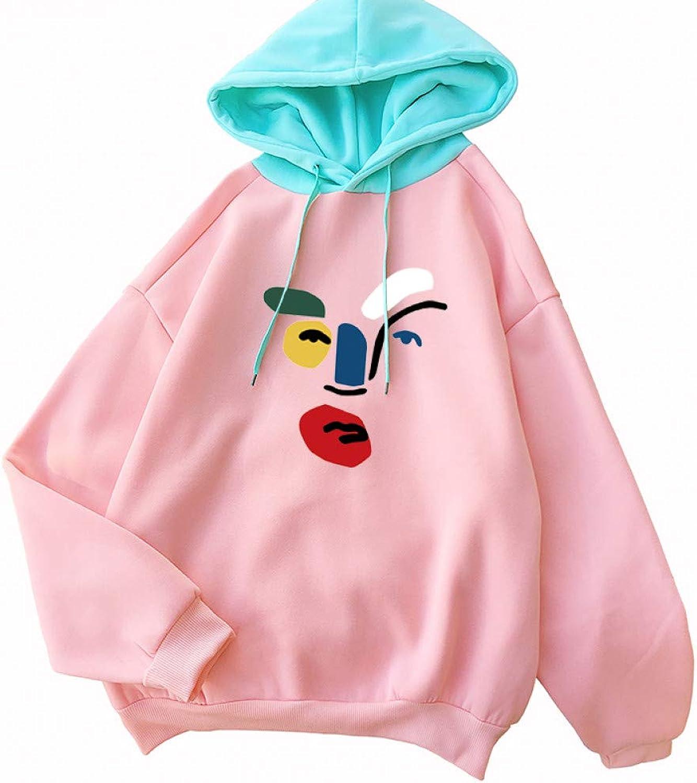 ZJSWCP Sweatshirt Autumn Women Hoodies New Casual Thick Long Sleeve Splicing Illustrations Printing Hooded Sweatshirt Female Streetwear