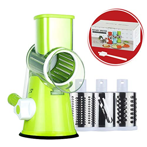 Cambom Manual Rotary Cheese Graters Round Mandoline Slicer Cheese Shredder Vegetable Slicer Walnuts Grinder with Strong-Hold Suction Cup Base and Cleaning Brush