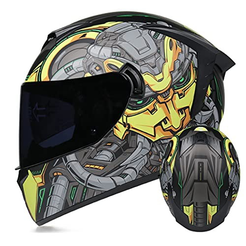 HAOYUNLAI Casco De Motocicleta De La Cara Completa Adulta con Despliegue Sun Shield Dot Certified Motocross Helmet Motocrss Casco Modular Casco De Diseño Ligero,Robot1 (Tea),L