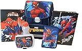 Spiderman, zaino scolastico per scuola elementare, anatomico, set da 6 pezzi, portapenne, portapenne, contenitore per il pane, bottiglia d'acqua, scatola raccoglitore A4, raccoglitore A4