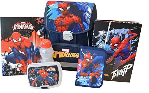 Spiderman Schulranzen für Grundschule Jungen Schulrucksack   anatomisch   Schultasche Set 6 teilig   Federmäppchen, Brotdose, Trinkflasche, A4 Heftbox, A4 Mappe