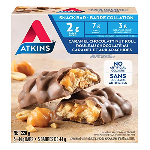 Atkins Snack Bar, Caramel Chocolate Nut Roll, Keto Friendly,