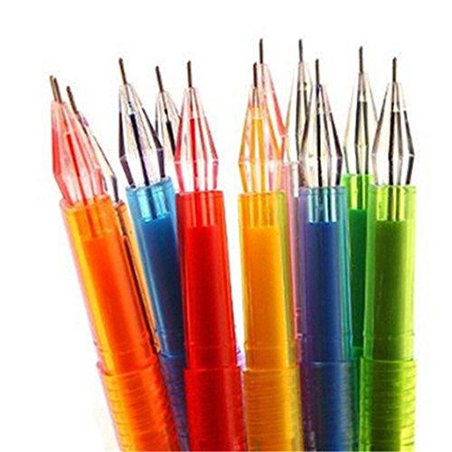 Super1798 - Juego de 12 bolígrafos de gel de colores con dibujos animados y estrellas