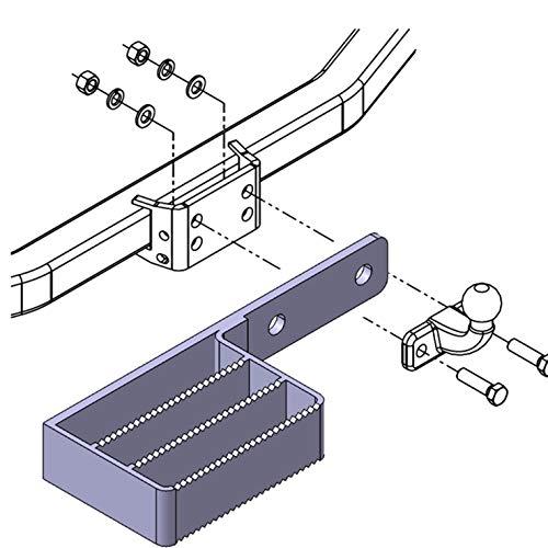 Trittbrett Trittstufe für Flanschkugel Anhängerkupplung Anhängevorrichtung Auftritt AHK 2- Loch Anhängerkupplung (90 mm)