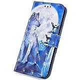 Surakey Hülle für Samsung Galaxy J1 2016 Handyhülle PU Leder Schutzhülle Flip Hülle Cover Glitzer 3D Bunte Muster Lederhülle Brieftasche Stil Handytasche Wallet Hülle Ständer Kartenfächer, Wolf Mond