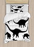 Ambesonne Dinosaur Duvet Cover Set, Various Black Dino Silhouettes Jurassic Evolution Extinction Predator Animals, Decorative 2 Piece Bedding Set with 1 Pillow Sham, Twin Size, Black and White