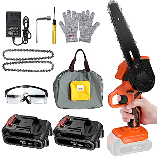 Mini Chainsaw , 6-Inch Cordless Mini Portable Handheld Electric Saw, Electric Portable Chainsaw One-Hand Lightweight, Wood Cutting Pruning Logging for Garden Courtyard Tree , Battery Powered