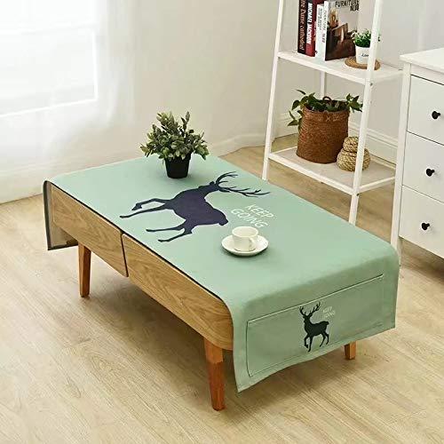 Creek Ywh tafelkleed van katoen en linnen, klein en fris, voor de woonkamer, TV-kast, rechthoekig, 70 x 180 cm