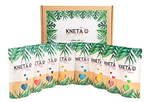 KNETÄ® 8er Knete Kinder Set als Mitgebsel Kinder Ostern I Kleinkinderknete ab 1 Jahr I vegane und ungiftige Spielknete (8er Set Bag)