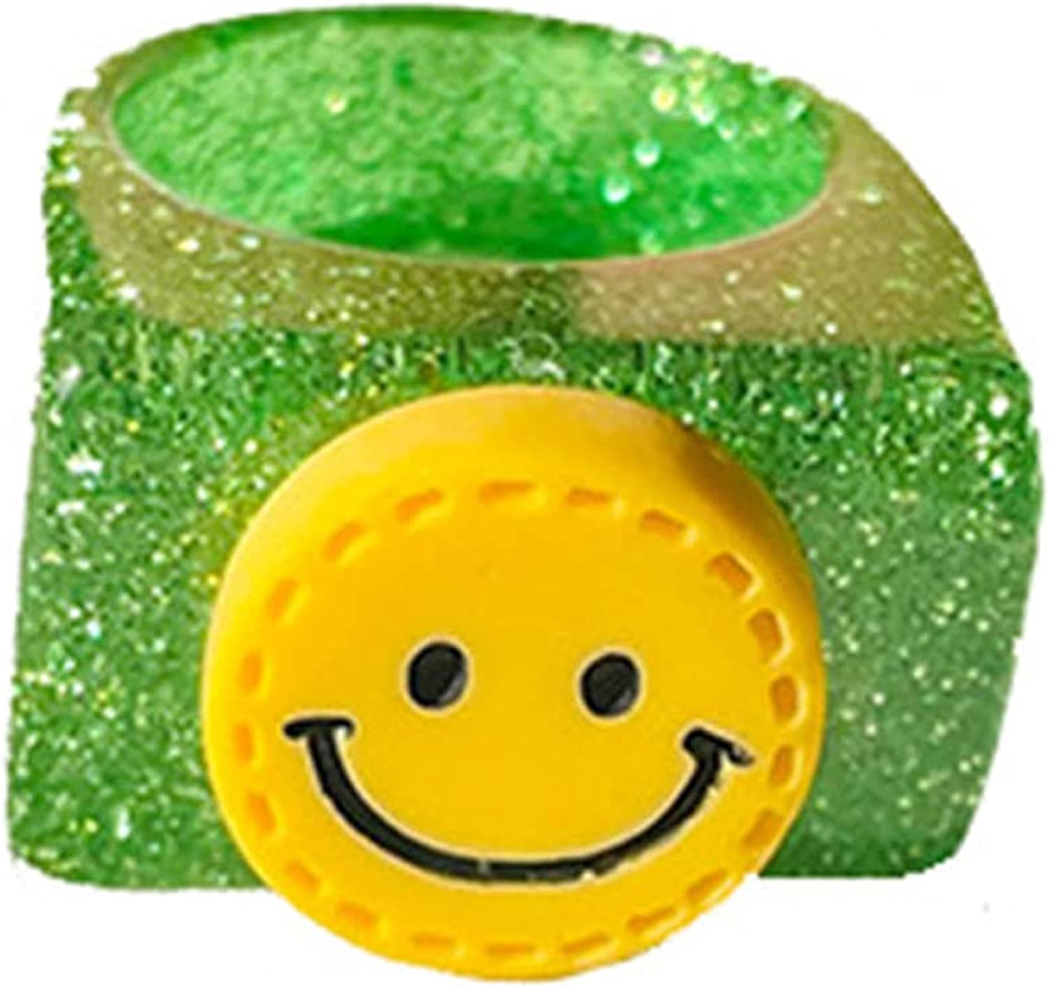 1-4 Pcs Colorful Happy Face Acrylic Ring Statement Transparent Smile Resin Sequins Ring Summer Lovely Face Ring for Women Girls