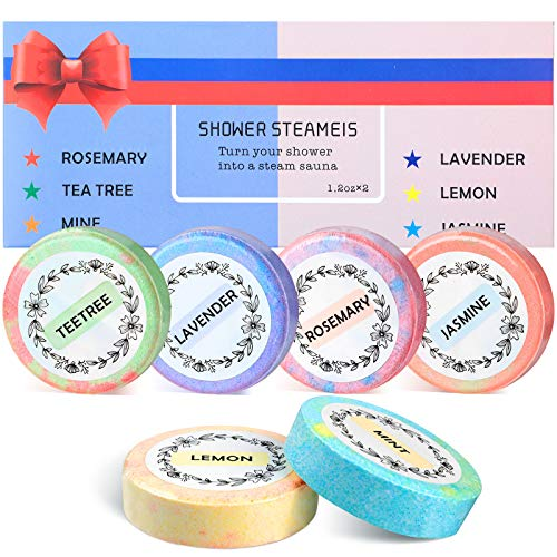 6 Pieces Shower Bombs Present Set Essential Oils Shower Bombs Tablets Vapor Steam Tablets Aromatherapy Shower Steamers for Shower Home Valentine's Day
