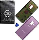 CELL4LESS Compatible Back Glass Cover Back Battery Door w/Pre-Installed Adhesive Replacement for Samsung Galaxy S9 OEM - All Models G960 All Carriers- 2 Logo - OEM Replacement (Purple)