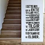 Versión noruega DETTE HUS Vinilo Etiqueta de la pared Reglas de la casa de la familia Arte de la pared calcomanías para la decoración de la sala de estar del hogar 142X56CM