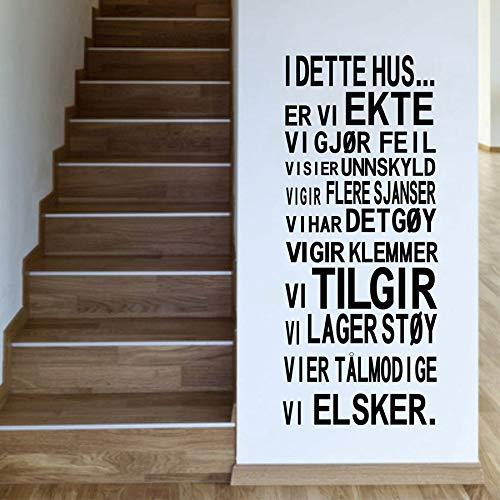 Norwegische Version I DETTE HUS Vinyl Wandaufkleber Familienhaus Regeln Wandkunst Dekoration für zu Hause Wohnzimmer Dekoration 88X35CM