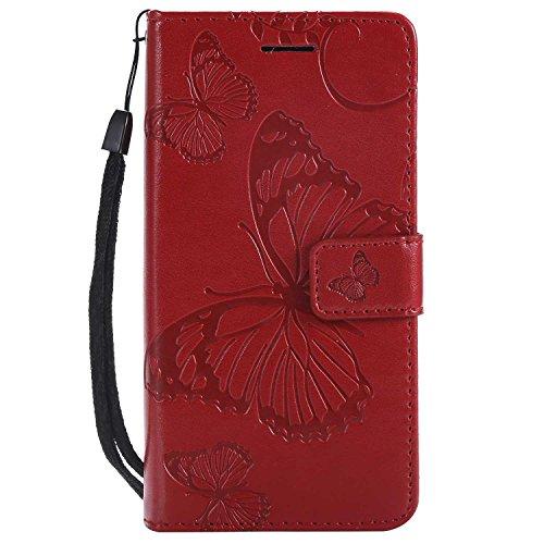 DENDICO Cover Sony Xperia XZ2 Compact, Pelle Portafoglio Custodia per Sony Xperia XZ2 Compact Custodia a Libro con Funzione di appoggio e Porta Carte di cRossoito - Rosso
