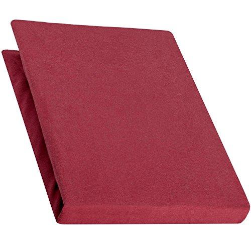 aqua-textiel Pur Topper hoeslaken 120x200-130x200 cm bordeaux rood boxspringbedden topperlaken katoen