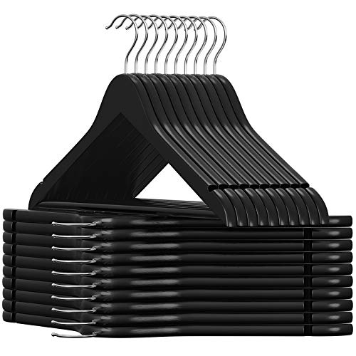 SONGMICS Solid Wood Hangers 20-Pack Coat Hangers with Shoulder Notches Trousers Bar 360° Swivel Hook Non-Slip for Jackets Shirts Dresses Black UCRW02B-20
