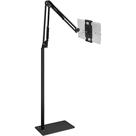 Tablet Floor Stand Holder Adjustable, Angle Adjustable Foldable Flexible Arms for Standing Sitting Lying Down Use, Universal Holder Compatible with iPad Pro Air Mini, Samsung Tab, Surface Pro, Kindle