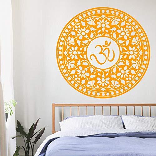 Mandala Om símbolo pegatina de pared calcomanía patrón indio decoración del hogar extraíble impermeable pegatina de pared vinilo arte Mural 57Cm X 82Cm