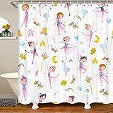 Loussiesd - Tenda da doccia per bambine, con stampa ballerina, set di tende da doccia per bambini, motivo floreale, con foglie di palma tropicale, tenda da bagno per balletto e danzatore, 180 x 180 cm