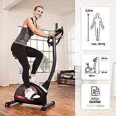 SportPlus SP-HT-9510-iE Rower treningowy Rower rowerowy Rower treningowy rower dla domu 9KG Koło zamachowe | Kryty rower do treningu domowego z napędem pasowym, system hamulca z magnesem trwałym z 24 poziomami oporu