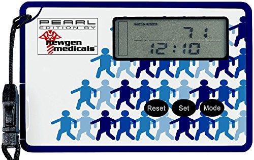 newgen medicals Schrittmesser: Schrittzähler mit 3D-Sensor und Uhr, im Scheckkartenformat (Fitness Tracker mit 3D Sensoren)
