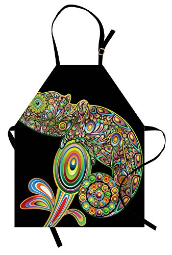Ambesonne Psychedelic Apron, Pop Art Chameleon with Elements Original Reptile Graphic Artwork Print, Unisex Kitchen Bib with Adjustable Neck for Cooking Gardening, Adult Size, Black Green