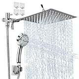 YOLIYOQU Rainfall Shower Head Kit, High Pressure Handheld Shower Combo with Extension Arm,9 Settings Adjustable Anti-leak Head with Holder