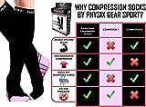 Physix Gear Sport Calcetines de compresión, los mejores calcetines compresión mujer y hombre para el dolor de pies y gemelos, medias de compresión hombre y mujer, 1 par, S/M, negro/rosa
