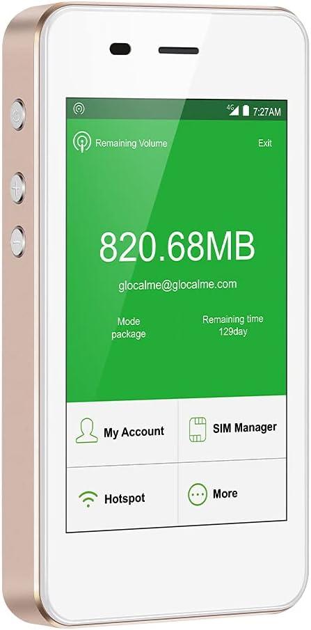 GlocalMe G3 4G LTE Enrutador WiFi móvil, no se Requiere Tarjeta SIM, WiFi de Bolsillo con Datos globales de 1 GB, batería de 5350 mAh, Conecta hasta 5 Dispositivos, Punto de Acceso MIFI Desbloqueado