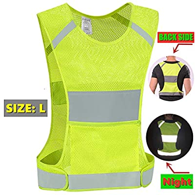 IDOU Reflective Vest Safety Running Gear with Pocket, Ultralight &Adjustable Waist&360°High Visibility for Running,Jogging,Biking,Motorcycle,Walking,Women & Men (neon Yellow) (neon Yellow, Large)