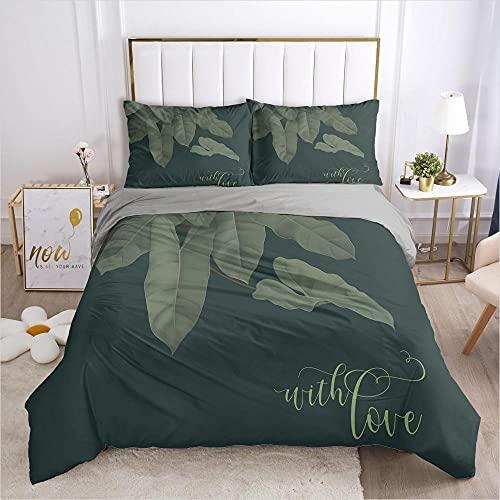 Påslakan Dubbel 3 delar Vändbar Grön bakgrund växt blad Tryckt sängkläder täckeöverdrag med dragkedja stängning 2 kuddfodral mjuk mikrofiber sängkläder 260x240cm