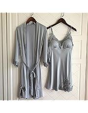 WDDGPZSY Camisa De Dormir/Camisón/Ropa De Dormir/Pijamas/Conjunto De Bata De Encaje Femenino De Verano con Sección Delgada Robe Twinset