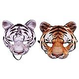 Takefuns 2Pcs Halloween Tiger Half Face Mask,Cosplay...
