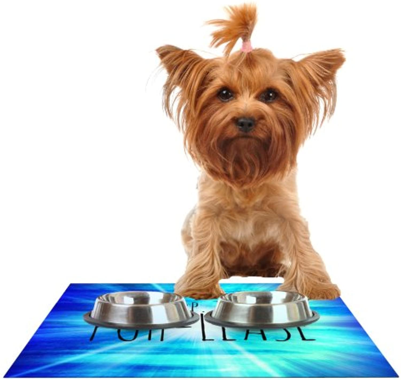 KESS InHouse EBI Emporium PuhLease bluee Aqua Feeding Mat for Pet Bowl, 18 by 13Inch