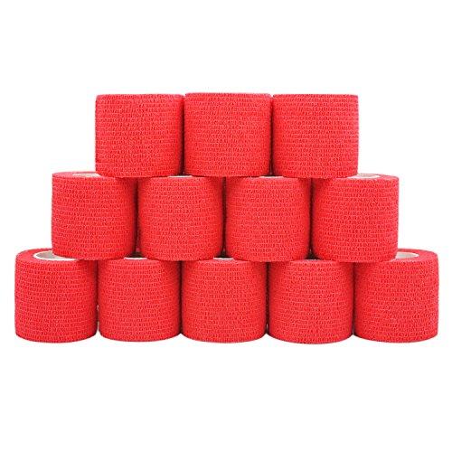 COMOmed Rollo de vendaje flexible cohesivo sin látex, cinta atlética cohesiva no tejida, apto para pieles sensibles, 5 cm x 4,5 m, 12 rollos, color rojo