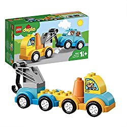 Help your child master basic construction skills with these 2 simple vehicles, then hook the car onto the toy truck and drive it away Features a tow truck for kids with hook and a car The toy tow truck and car have window bricks decorated with charac...